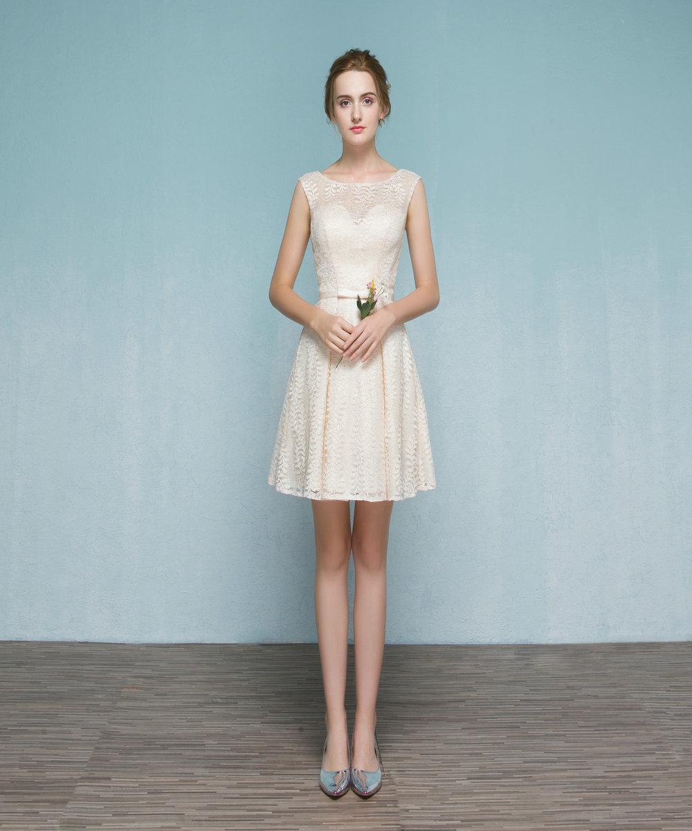 [해외]슬로 비 우드 챠밍 오우 넥 레이스 무릎 길이 웨딩 드레스 정장 우아한 어머니 드레스 Vestido De Festa Longo SLE543/Slovedress Charming O-Neck Lace Knee- Length Bridesmaid Dresses Form