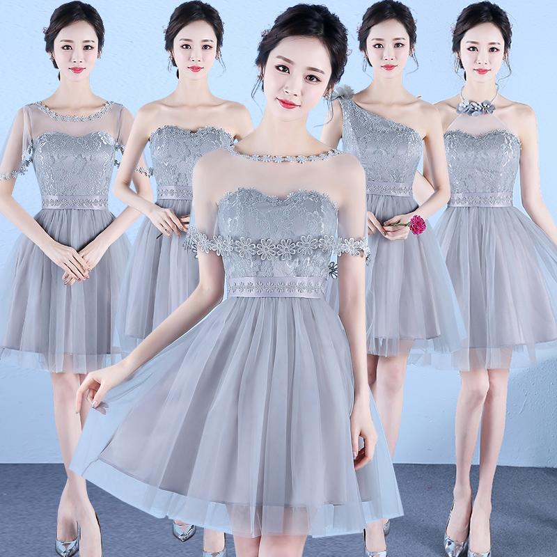 [해외]달콤한 메모리 회색 짧은 짧은 신부 들러리 드레스 무릎 길이 댄스 파티 파티 드레스 SW180320 핑크 샴페인 보라색 퍼블리싱 프로모션/Sweet Memory Gray Short Cheap Bridesmaid Dresses Knee-Length Prom Par