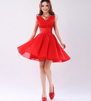[해외]레드 신부 들러리 드레스 신부 드레스 짧은 디자인 더블 어깨 달콤한 들러리 드레스 샴페인 로얄 블루 핫 핑크/Red Bridesmaid Dress Bridal dress short design double-shoulder sweet Bridesmaid Dress