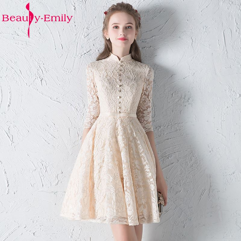 [해외]뷰티 - 에밀리 Champange 레이스 들러리 드레스 2017 - 라인 무릎 길이 버튼 파티 파티 댄스 파티 드레스 홈 커밍 드레스/Beauty-Emily Champange Lace Bridesmaid Dresses 2017 A-Line Knee-Length