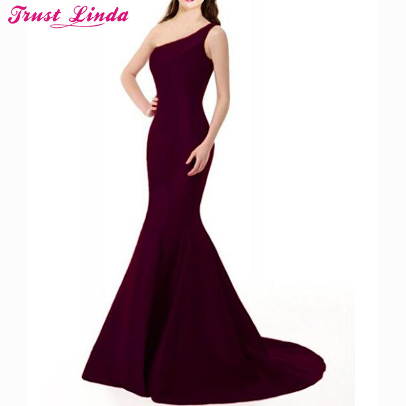[해외]섹시한 하나의 어깨 보라색 인어 들러리 드레스 간단한 긴 긴 드레스 가운 신부 파티 드레스 드레스 2018 사용자 정의 만든/Sexy One Shoulder Purple Mermaid Bridesmaid Dresses Simple Long Prom Gowns B