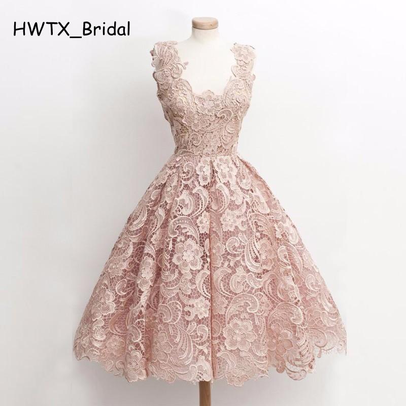 [해외]빈티지 1950S 레이스 신부 들러리 드레스 2018 라이트 핑크 민Retail Keen 길이 댄스 파티 드레스 웨딩 파티 Vestido 드 페스타 싸구려/Vintage 1950S Lace Bridesmaid Dresses 2018 Light Pink Sleev