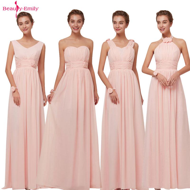 [해외]뷰티 에밀리 2018 들러리 드레스 시폰 롱 핑크 A 라인 민Retail 웨딩 파티 댄스 파티 댄스 파티 드레스/Beauty Emily 2018 Bridesmaid Dresses Chiffon Long Pink A-Line Sleeveless Wedding Pa
