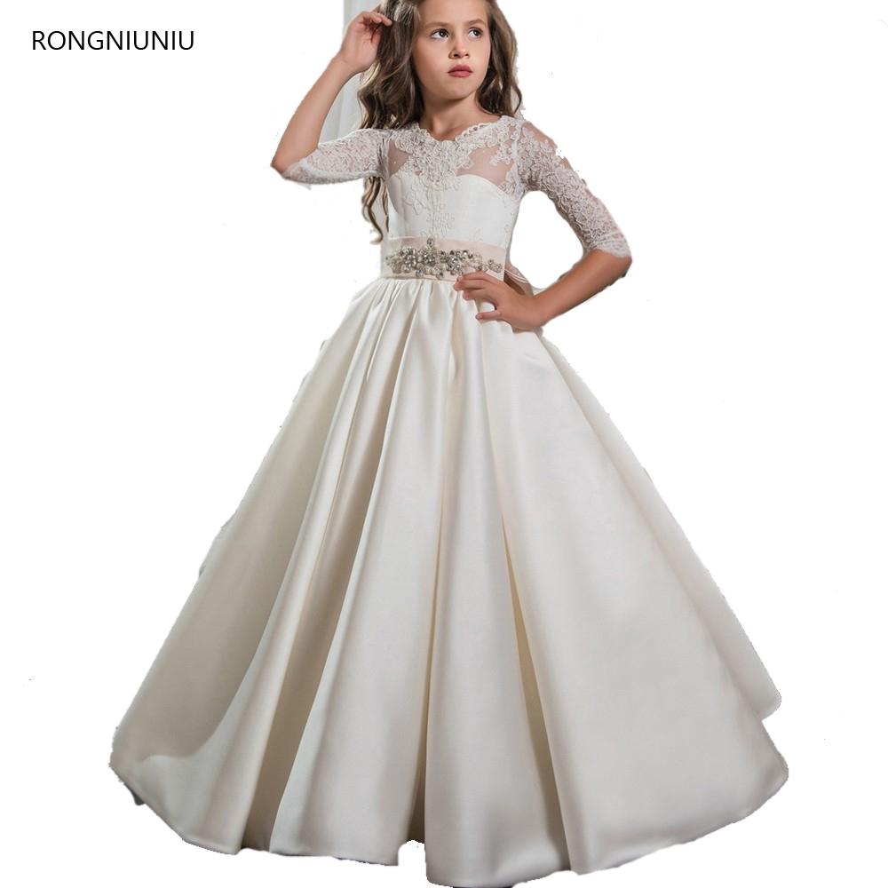 [해외]2017 귀여운 Tulle Half Sleeve Girls 미식가 드레스 아이들을우아한 First Communion Dress 졸업식 Flower Girls 가운/2017 Cute Tulle Half Sleeve Girls Pageant Dresses Elega