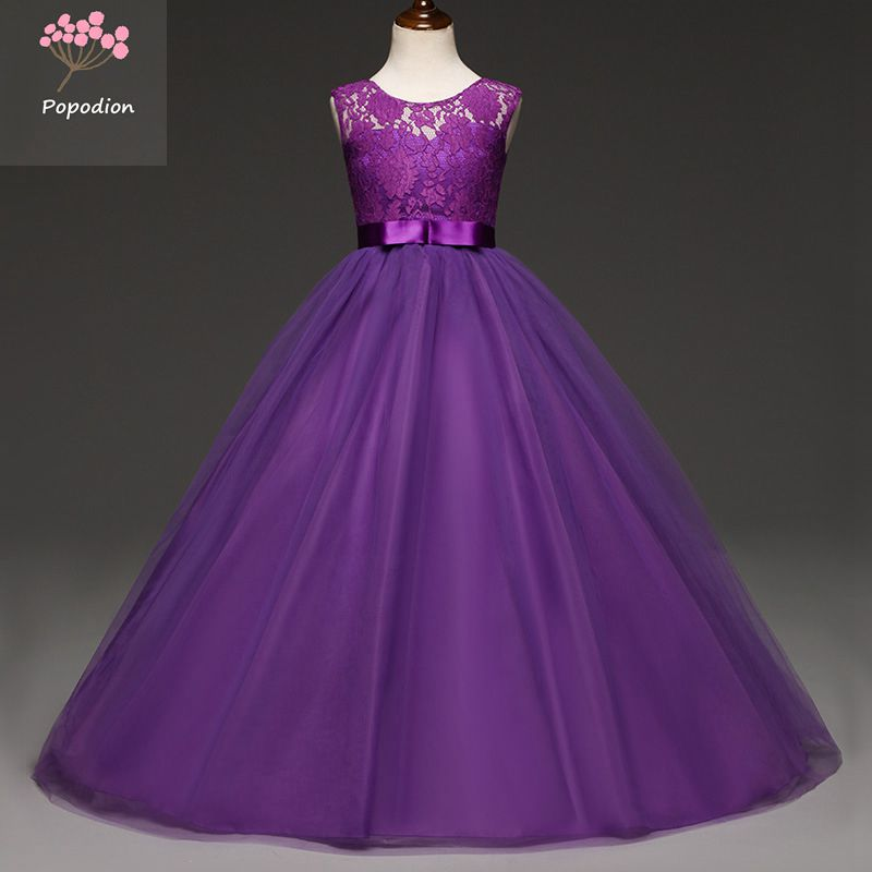 [해외]Popodion 흰색 레이스 어린이 꽃의 소녀 드레스 파티 드레스 파티 드레스 긴 파티 드레스 FGD10083/Popodion white lace children flower girl dresses kids prom dresses long party dresse