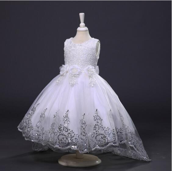 [해외]진짜 사진 2016 결혼식을 위해 높은 낮은 튤레 고리 버들 세공 된 레이스 꽃 소녀 드레스 미인가 드레스 MDF91/Real Photos 2016 High Low Tulle Sequined Lace Flower Girl Dresses For Weddings P