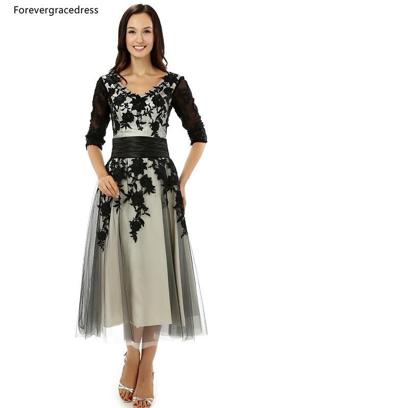[해외]Forevergracedress 신부의 복장 빈티지 어머니 블랙 애리조나 차일 짧은 저녁 파티 드레스 플러스 사이즈 맞춤 제작/Forevergracedress Vintage Mother of the Bride Dress Black Applique Tea Leng