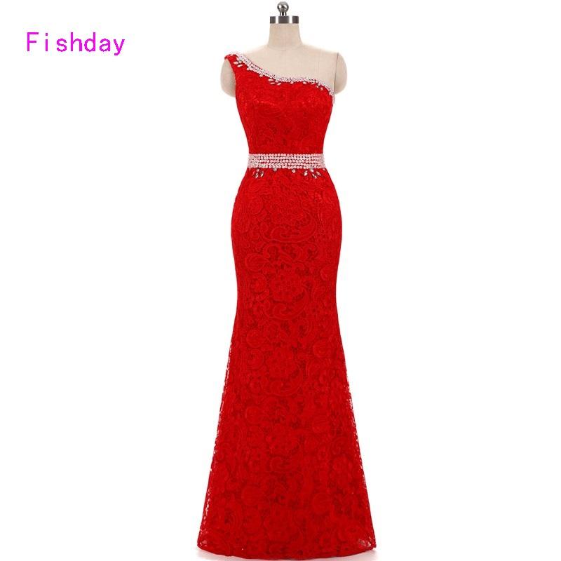 [해외]2017 긴 인어 붉은 레이스 플러스 사이즈 한 어깨 Abendkleider 이브닝 드레스 여성 공식 드레스 신부 B20의 어머니/2017 Long Mermaid Red Lace Plus Size One Shoulder Abendkleider Evening Dr