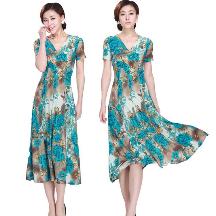 [해외]짧은 Retail 파티 드레스 신부 드레스의 어머니 5XL 여성 여름 우유 실크 V - 목 드레스 드레스/Short sleeve party dress Mother of the Bride Dresses 5XL women Summer milk silk V-neck