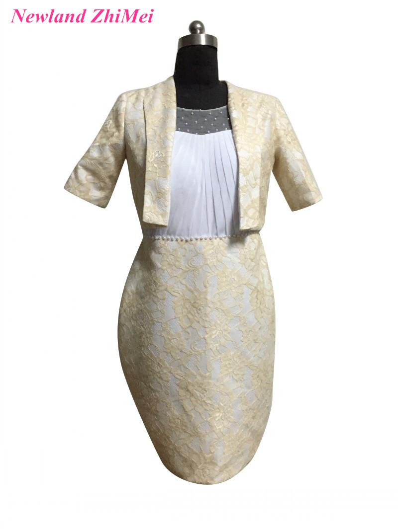 [해외]신부 드레스의 빈티지 짧은 어머니 Halri Sleeves 결혼식을무릎 길이 레이스 파티 드레스/Vintage Short Mother of the Bride DressHalf Sleeves New Arrival Knee Length Lace Party Dress