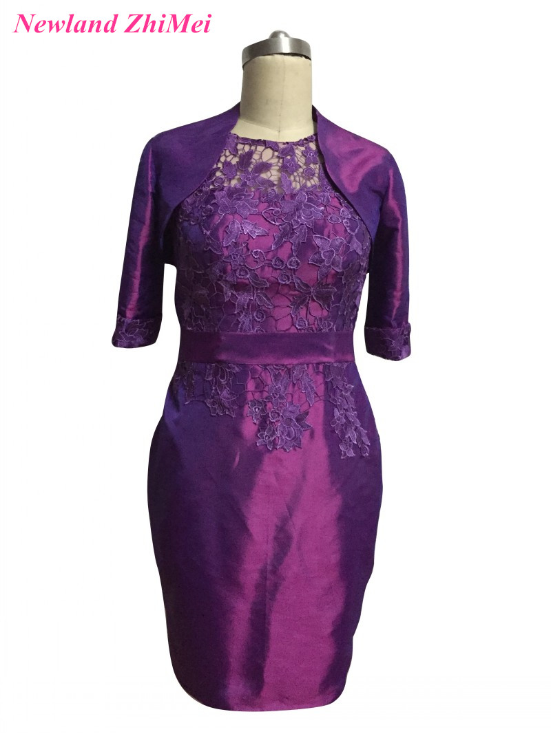 [해외]신부 드레스의 Hot 보라색 무릎 길이의 어머니 결혼식을레이스 태 피터 여자 드레스 위에 빈티지 3 분의 1 Retail/Hot Purple Knee Length Mother of the Bride Dresses Vintage Three Quarter Sleev