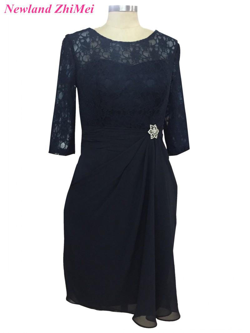 [해외]네이비 블루 무릎 길이 신부의 DressThree 분기 슬리브 결혼식을빈티지 레이스 쉬폰 드레스/Navy Blue Knee Length Mother of the Bride DressThree Quarter Sleeves Vintage Lace Chiffon Dr
