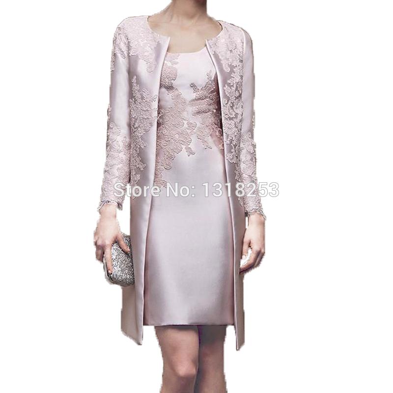 [해외]긴 Retail 재킷을 가진 신부 신랑의 어머니 무릎 길이의 위 복장 여자의 칵테일 가운 복장 외투 2 조각 세트 한 벌/with Long Sleeve Jacket Mother of the Bride Groom Dresses Above Knee Length Wo