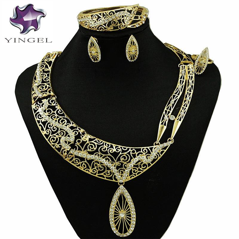 [해외]?골드 쥬얼리 세트 여성 목걸이 웨딩 패션 쥬얼리 세트 나이지리아 아프리카 웨딩 쥬얼리 세트 신부 보석 세트/ gold jewelry sets women necklace wedding fashion jewelry set nigerian african weddin