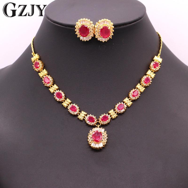 [해외]GZJY 빈티지 옐로우 골드 색상 자연 레드 지르콘 신부의 목걸이 귀걸이 쥬얼리 세트 여성 결혼 약혼 파티 선물/GZJY Vintage Yellow Gold Color Natural Red Zircon Bridal Necklace Earrings Jewelry