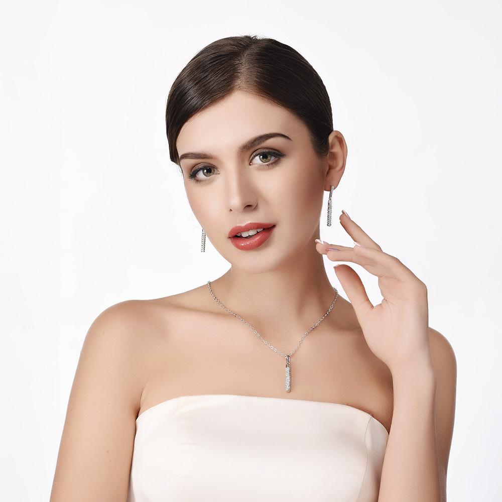 [해외]쥬얼리 세트 여성 쥬얼리 패션 쥬얼리 옐로우 골드 컬러 롱 귀걸이 크리스탈 브라 쥬얼리 세트 PE911/Jewelry Sets For Women  Necklace Fashion Jewelry Yellow Gold Color Long Earrings Crystal
