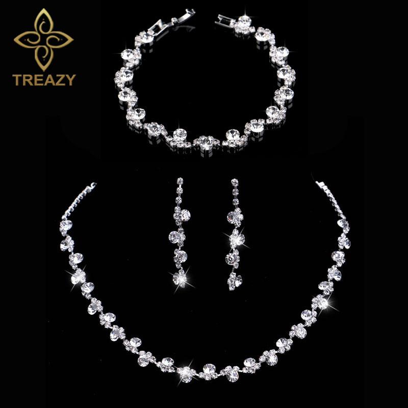 [해외]TREAZY 크리스탈 브라 쥬얼리 세트 실버 색상의 매력 꽃 웨딩 목걸이 귀걸이 팔찌 세트 여성 결혼식 액세서리/TREAZY Crystal Bridal Jewelry Sets Silver Color Charm Floral Wedding Necklace Earri
