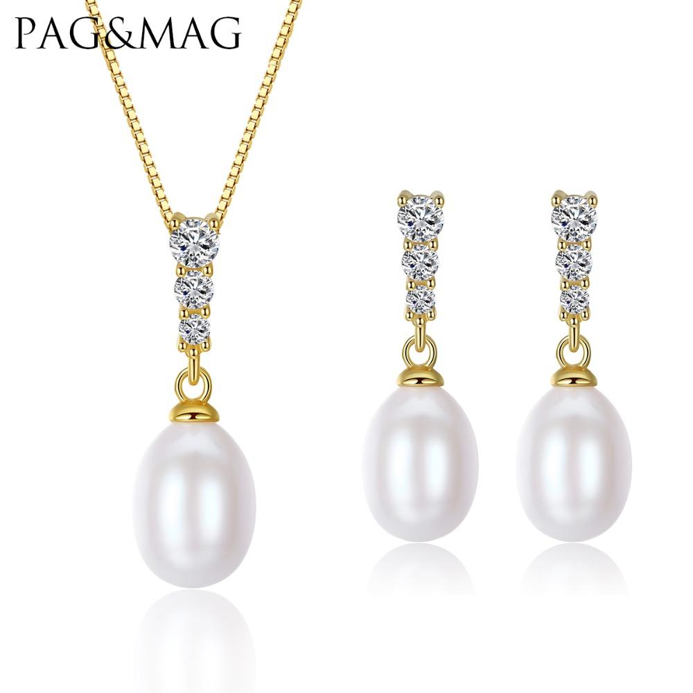[해외]PAG & MAG 브랜드 925-Sterling-Silver 여성 쥬얼리 세트 8-9mm 자연 담 수 진주 귀걸이 & amp; 목걸이 공장/PAG&MAG Brand 925-Sterling-Silver Women Jewelry Sets 8-9