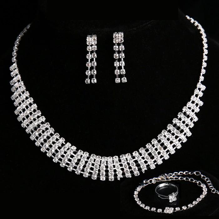 [해외]반지의 영주 약혼 웨딩 보석 세트 여성 목걸이 크리스탈 목걸이 + 귀걸이 + 팔찌/New arrival lord of rings Engagement Wedding Jewelry Sets Crystal Necklaces for Women Accessories Ne