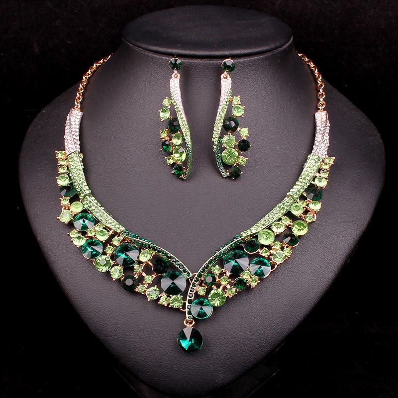 [해외]패션 인도 보석 녹색 크리스탈 목걸이 귀걸이 신부 보석 세트 결혼식 액세서리 장식 크리스마스 선물 여자/Fashion Indian Jewellery Green Crystal Necklace Earrings Bridal Jewelry Sets Wedding Acc