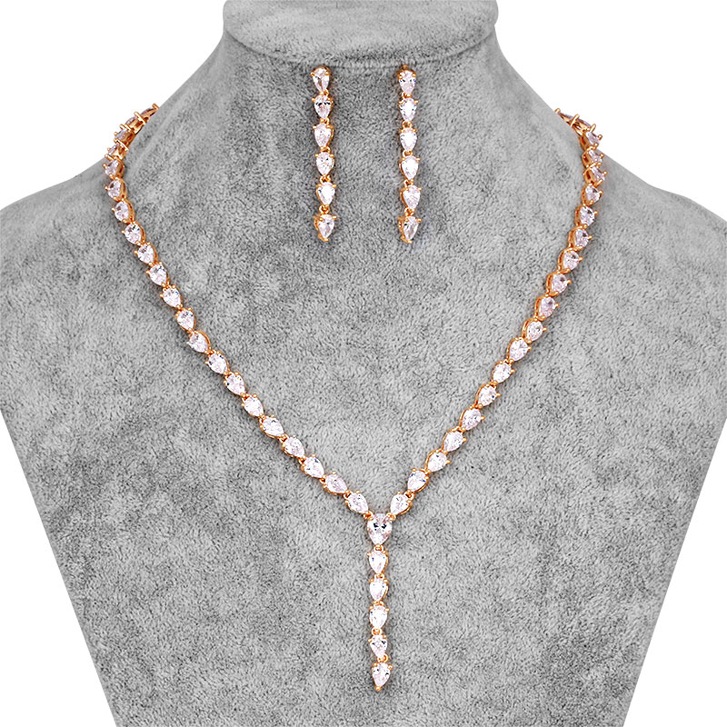 [해외]2017 우아한 눈물 반짝 큐브 지르코니아 크리스탈 목걸이 귀걸이 신부 쥬얼리 세트/2017 New Arrival Elegant Teardrop Sparkling Cubic Zirconia Crystal Necklace Earrings Bridal Jewelry