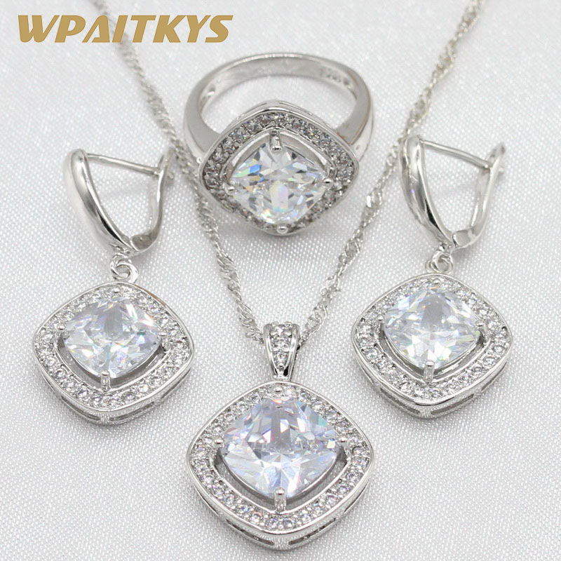 [해외]여성 Sqaure 모양 화이트 큐빅 지 르 코니 아 목걸이 펜 던 ??트 귀걸이 반지  상자에 대 한 925 실버 쥬얼리 세트 WPAITKYS/925 Silver Jewelry Sets For Women Sqaure Shape White Cubic Zirconi