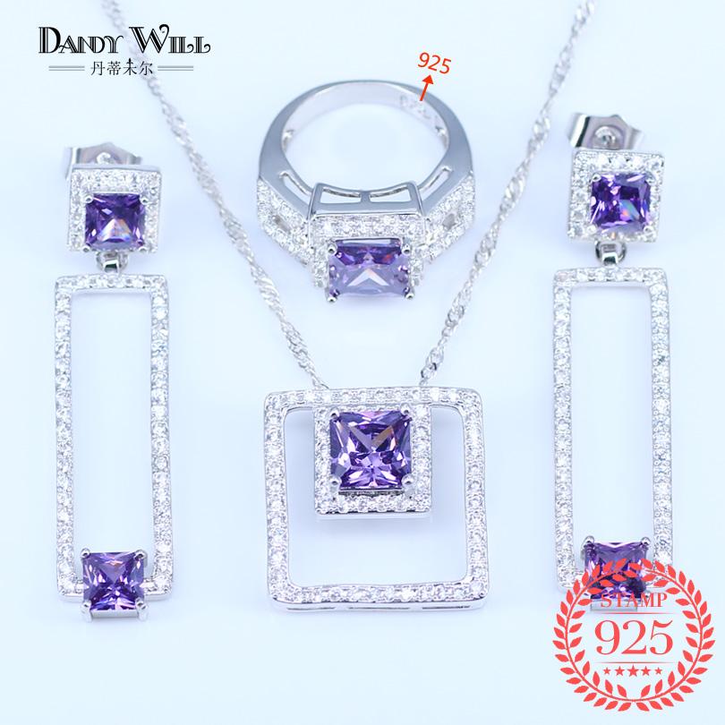 [해외]패션 스타일 925 실버 쥬얼리 여성 광장 보라색 / 녹색 / 흰색 / 파랑 입방 지르코니아 쥬얼리 펜던트 귀걸이 반지 세트/fashion style 925 Silver jewelry sets for women square purple/green/white/bl