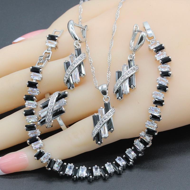 [해외]?925 스털링 실버 주얼리 여성을2018 브래지어 세트 새로운 검은 색 흰색 지르코니아 4PCS 목걸이 펜던트 팔찌 반지 귀걸이/ 925 Sterling Silver Jewelry Sets For Women Bridal 2018 New Black White Z