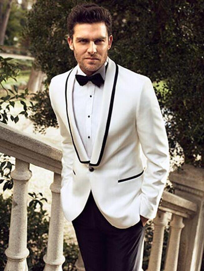 [해외]맞춤 제작 된 잘 생긴 신랑 착용 턱시도 어깨 걸이 옷깃 남자 & 양복 두 단추 Groomsman / 최고의 남자 웨딩 정장 (자켓 + 바지 + 넥타이)/Custom Made Handsome Groom Wear Tuxedos Shawl Lapel Men&