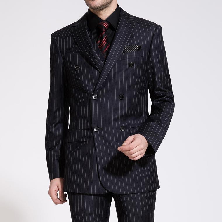 [해외]신랑 정장 2016 신착 웨딩 망 스트라이프 정장 세트 남자 정장 바지 망 더블 양복 (자켓 + 조끼 + 바지)/Groom Suits 2016 New Arrival Wedding Mens Stripe Suit Set Mens SuitsPants Mens Doub