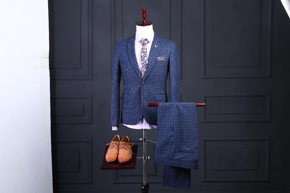 [해외]유행 두 조각 웨딩 복 파란색 스트라이프 신랑 착용 옷깃 웨딩 원 스톱 최고의 남자 (자켓 + 바지)/Fashionable Two piece Wedding Suits Blue Stripe Groom Wear Lapel Wedding One button Suits