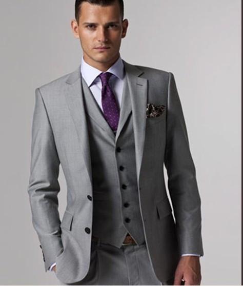 [해외]신랑 턱시도 Groomsmen 사용자 정의 만든 빛 회색 측면 통풍구 슬림 맞는 최고의 남자 정장 웨딩 정장 신랑 (자켓 + 바지 + 조끼)/Groom Tuxedos Groomsmen Custom Made Light Grey Side Vent Slim Fit B