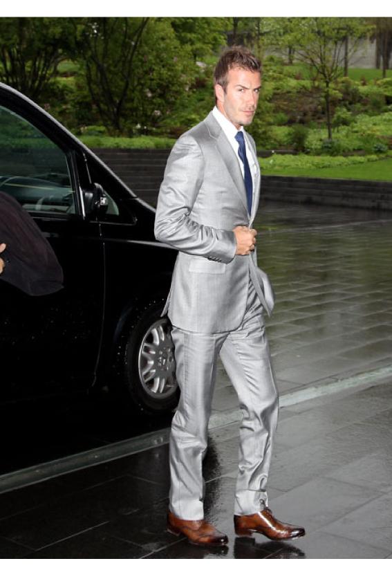 [해외]배햄 같은 스타일 실버 맞춤 제작 신랑 턱시도 신랑 들러리 연예인 복장 2 벌 세트 정장 복 (자켓 + 바지)/Backham Same Style Silver Custom Made Groom Tuxedos Groomsmen  Celebrity Dress 2 Pie