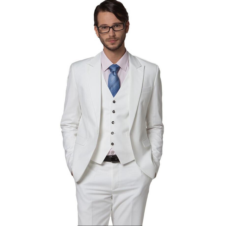 [해외]도매 남성 & s 의류 슬림 한 복장 하얀 웨딩 정장 흰 정장 드레스 정장 신랑 착용 (재킷 + 바지 + 넥타이 + 조끼)/Wholesale Men&s clothing slim suit white wedding suits white suit dress s