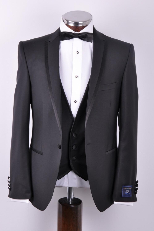 [해외]2017 핫 세일 블랙 슬림 장착 남자를신랑 착용 웨딩 슈트 (자켓 + 바지 + 넥타이) / 흡연복 / bridregroom 턱시도 포함/2017 hot sale Black slim fitted Groom wear wedding suit for men inclu