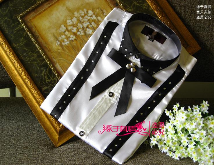 [해외]2016 뉴 화이트 블랙 패치 워크 긴 Retail 남성 셔츠 웨딩 / 댄스 파티 신랑 셔츠 (39-44)를 신랑 남자 파티 셔츠를 착용/2016 New White black Patchwork Long-sleeved Men Shirt Wedding/Prom Gr