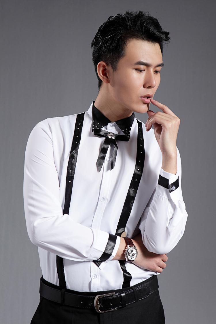 [해외]2016 뉴 화이트 블랙 패치 워크 긴 Retail 남성 셔츠 웨딩 / 댄스 파티 신랑 셔츠 가수 착용 신랑 남자 파티 셔츠 (39-44)/2016 New White black Patchwork Long-sleeved Men Shirt Wedding/Prom G