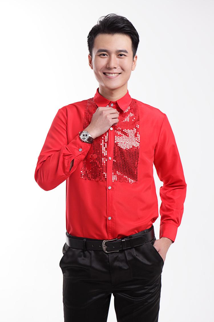 [해외]2016 새로운 레드 스팽글 긴팔 남성 셔츠 웨딩 / 댄스 파티 신랑 셔츠 가수 착용 신랑 남자 파티 셔츠 (39-44)/2016 New Red Sequins Long-sleeved Men Shirt Wedding/Prom Groom Shirts Singer W