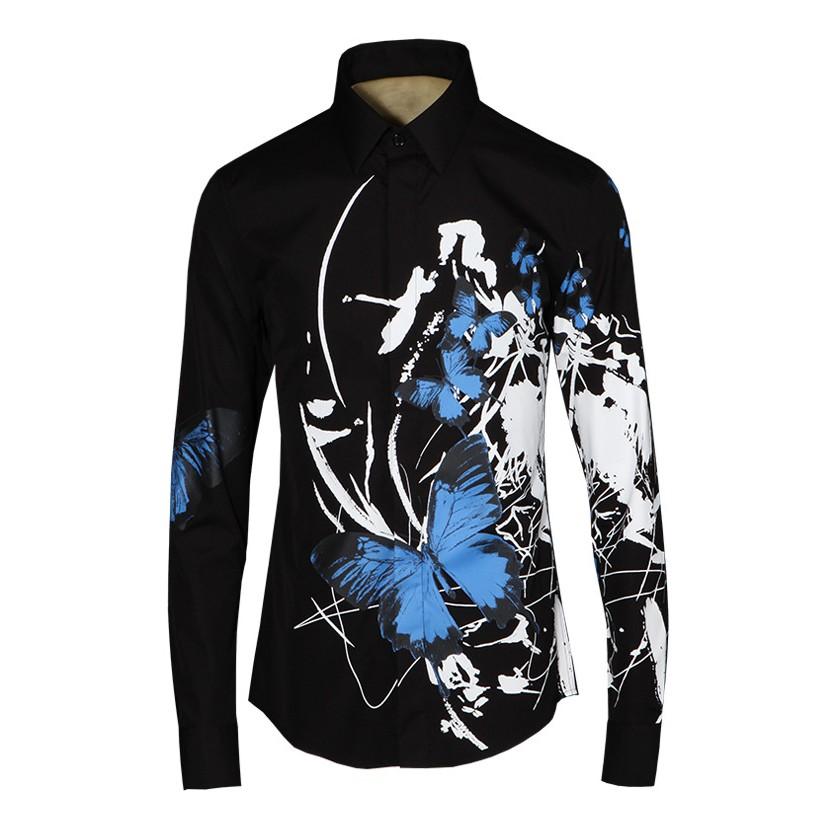 [해외]2017 새로운 망 셔츠 유행 3D 검정 잉크 인쇄 나비 남자 긴 Retail 셔츠 남성 호화스러운 궁전 우연한면 슬림 셔츠/2017 New Mens Shirt Fashion 3D Black ink Printing Butterfly Men Long Sleeve