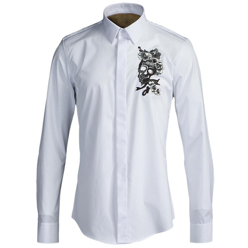 [해외]?턱시도 셔츠 남자 패션 해골 꽃 긴 Retail 셔츠 남자 S-XXXL 슬림 맞는 코 튼 Camisa Masculina/ Tuxedo Shirts Men Fashion Stitched Skull Floral Long Sleeve Shirt Man S-XXXL