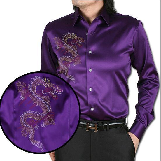 [해외]보라색 어 드래곤 인쇄 남자 & s 실크 셔츠 캐주얼 남자 긴 Retail 여름 웨딩 드레스 셔츠 파티 셔츠/Purple Chinese Dragon Printing Men&s Silk Shirt Casual  Men Long Sleeve  Summer W