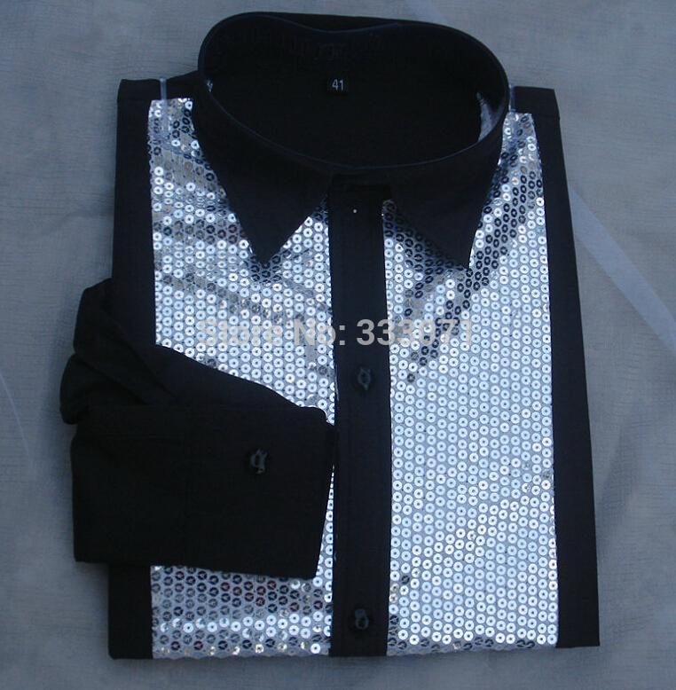 [해외]2017 남성 셔츠 BlackSliver Sequins 긴 Retail 신랑 댄스 파티 무도회 성능 Bridagroom Men Party Shirt Camisa Masculina/2017 Men Shirt BlackSliver Sequins Long Sleeve
