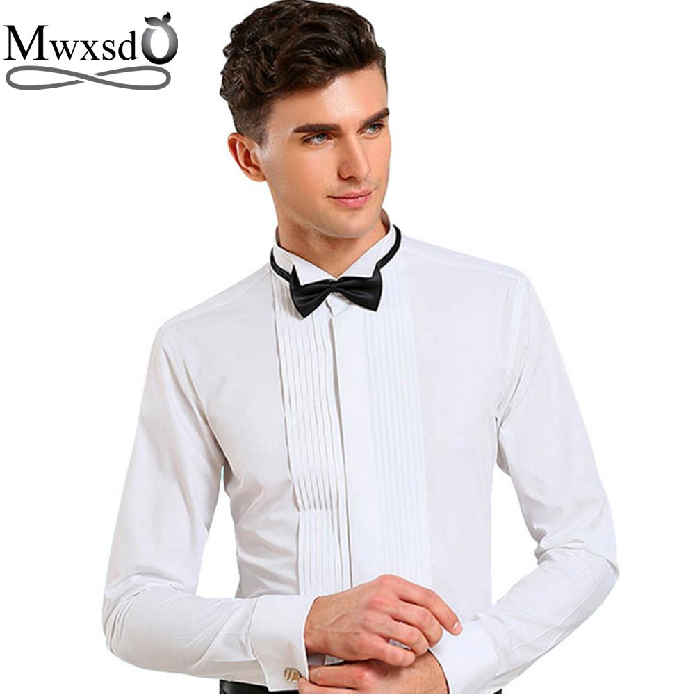 [해외]Mwxsd 2017 브랜드 남성 턱시도 웨딩 셔츠 슬림 피트 긴팔 무지 프렌치 셔츠  삼키는 칼라 셔츠 chemise homme/Mwxsd 2017 brand men tuxedo wedding shirt slim fit long-sleeved solid Fren