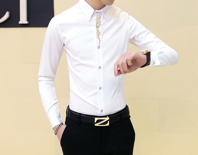 [해외]M - 2XL HOT 2017 봄 남성 새로운 패션 하나 & 도덕성 지적 칼라 자수 셔츠 헤어 스타일 이브닝 드레스를 육성/M--2XL HOT 2017 Spring Male New Fashion Cultivate one&s morality pointed