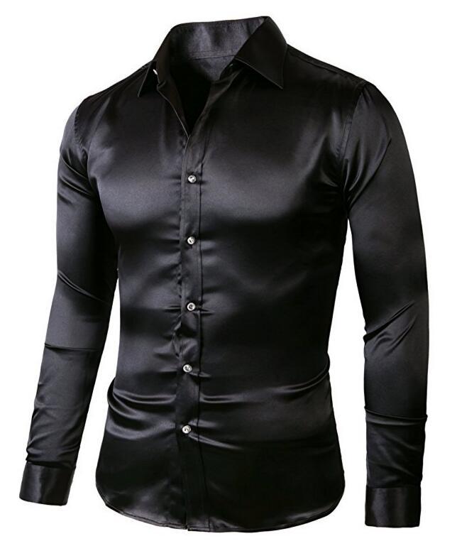 [해외]남자 & 슬림 피트 솔리드 컬러 댄스 파티 드레스 셔츠/Men&s Slim-Fit Solid Color Dance Prom Dress Shirt