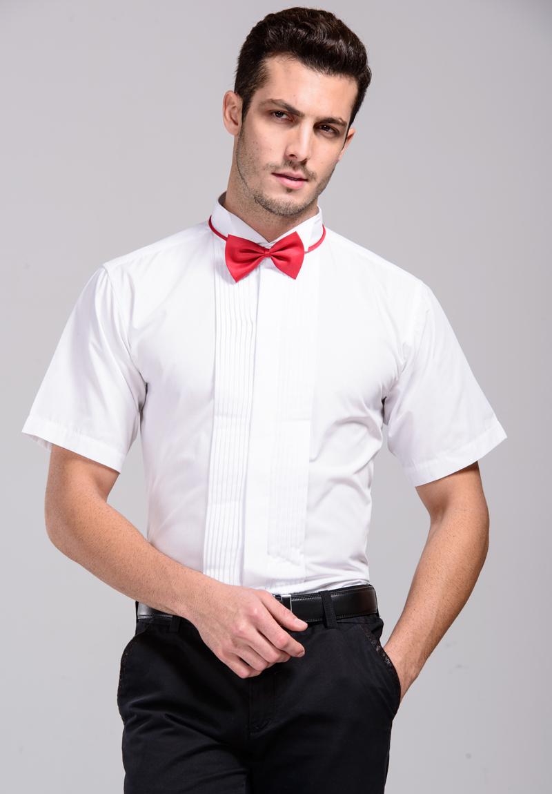 [해외]?공식적인 남자 복장 셔츠 백색 턱시도 셔츠 - Retail 결혼식 셔츠 남자 사업 셔츠 플러스 크기 38-45/ Formal Men Dress Shirts White Tuxedo Shirts short-Sleeve Wedding Shirts Men Busine