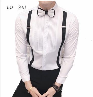 [해외]2017 새로운 고전 잡아 스트라이프 조수 남자 - 긴팔 셔츠 드레스 캐주얼 이브닝 드레스 가운 셔츠 바 유니폼/2017 new classic pull striped tide men long-sleeved shirt dress casual evening dres