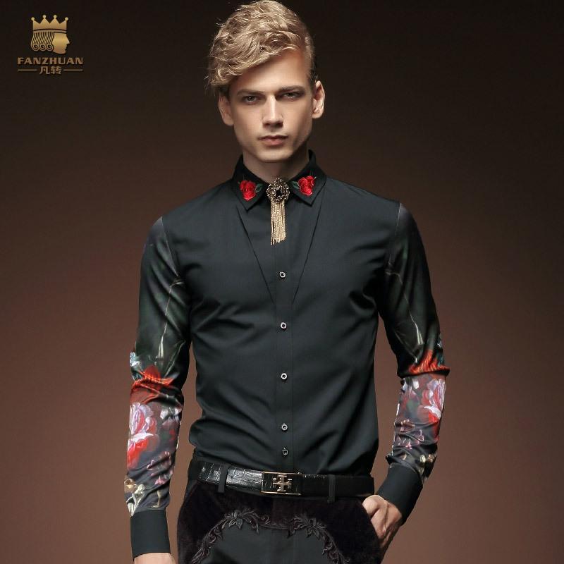 [해외]FANZHUAN 망 의류 긴 Retail 턱시도 셔츠 패션 빈티지 트렌드 자수 인쇄 복장 연회 쇼 호스트 셔츠/FANZHUAN Mens Clothing  Long Sleeves Tuxedo Shirts Fashion Vintage Trend Embroidery