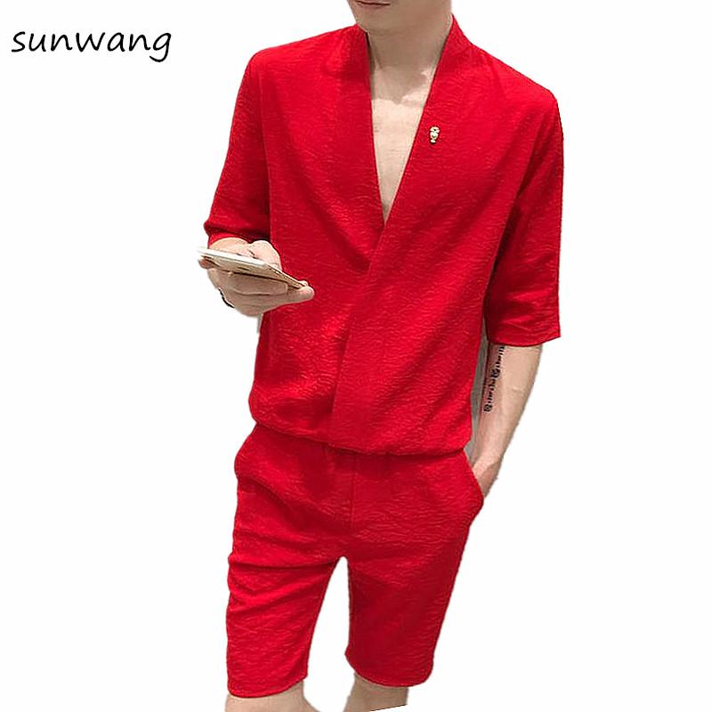 [해외]2017 독특한 디자이너 브이 넥 남성 & 턱시도 셔츠 남성 패션 슬림 피트 복장 셔츠 캐주얼 대형 2PCS 세트/2017 Unique Designer V neck Men&s Tuxedo Shirts Korean Fashion Slim Fit Dress