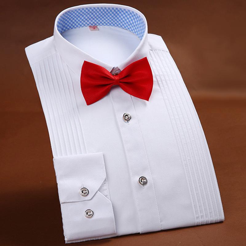 [해외]하이 엔드 남자 & 턱시도 셔츠 단색 긴 Retail 셔츠 결혼식 파티 남자 & 셔츠 화이트 블루 핑크 브랜드 남성 셔츠 38-44/High-end Men&s Tuxedo Shirt Solid Color Long Sleeved Shirt Weddi